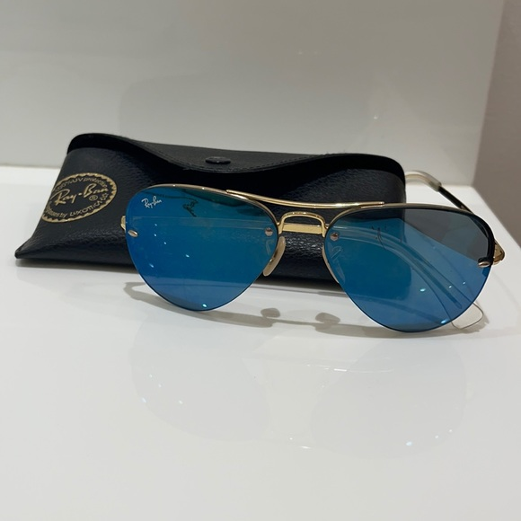 Blue and gold aviator ray-bans